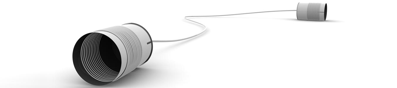 zwei Blechdosen mit Seil als Kontaktsymbol